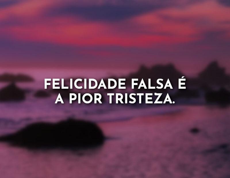Frases: Felicidade falsa é a pior tristeza.